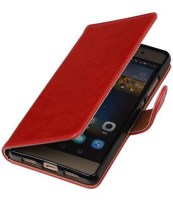 Rood Pull-Up PU booktype wallet cover voor Hoesje voor Huawei P8 Lite