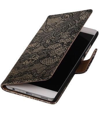 Zwart Lace booktype cover voor Hoesje voor Huawei P9