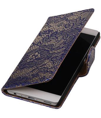 Blauw Lace booktype cover voor Hoesje voor Huawei P9