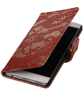 Rood Lace booktype cover voor Hoesje voor Huawei P9