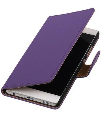 Paars Effen booktype cover voor Hoesje voor Huawei P9