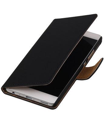 Zwart Effen booktype cover voor Hoesje voor Huawei P9