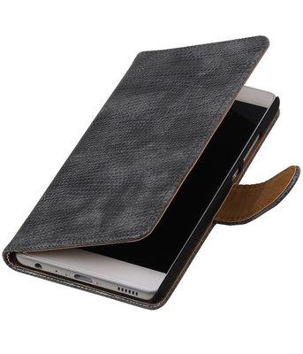 Grijs Mini Slang booktype cover voor Hoesje voor Huawei P9