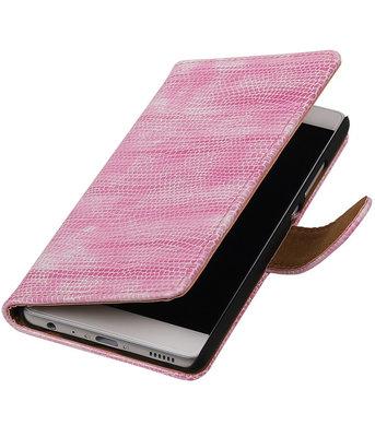 Roze Mini Slang booktype cover voor Hoesje voor Huawei P9