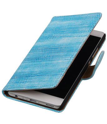 Turquoise Mini Slang booktype cover voor Hoesje voor Huawei P9