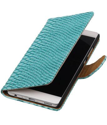 Turquoise Slang booktype cover voor Hoesje voor Huawei P9
