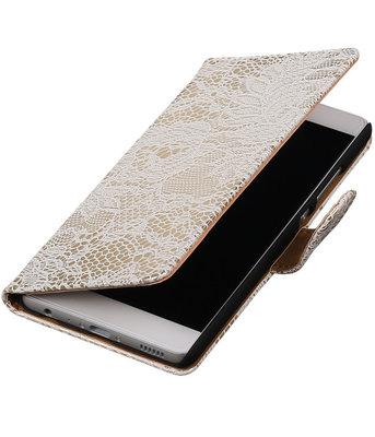 Wit Lace booktype cover voor Hoesje voor Huawei P9 Lite
