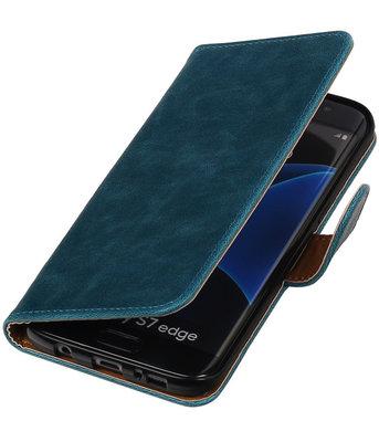 Blauw Pull-Up PU booktype wallet cover voor Hoesje voor Samsung Galaxy S7 Edge