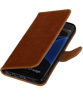 Bruin Pull-Up PU booktype wallet cover hoesje voor Samsung Galaxy S7 Edge