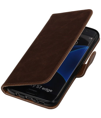 Mocca Pull-Up PU booktype wallet cover voor Hoesje voor Samsung Galaxy S7 Edge