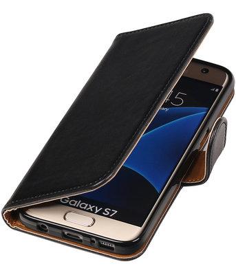 Zwart Pull-Up PU booktype wallet cover hoesje voor Samsung Galaxy S7