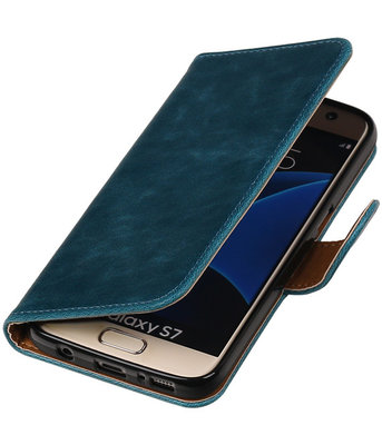 Blauw Pull-Up PU booktype wallet cover hoesje voor Samsung Galaxy S7