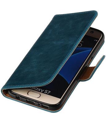 Blauw Pull-Up PU booktype wallet cover voor Hoesje voor Samsung Galaxy S7