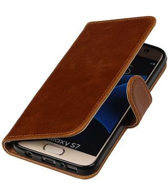 Bruin Pull-Up PU booktype wallet cover voor Hoesje voor Samsung Galaxy S7