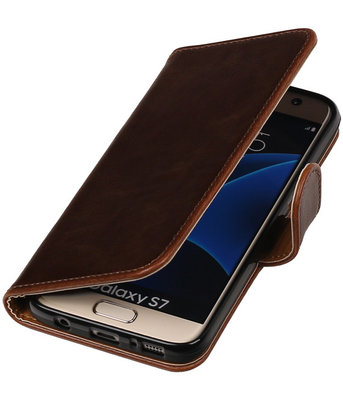 Mocca Pull-Up PU booktype wallet cover hoesje voor Samsung Galaxy S7