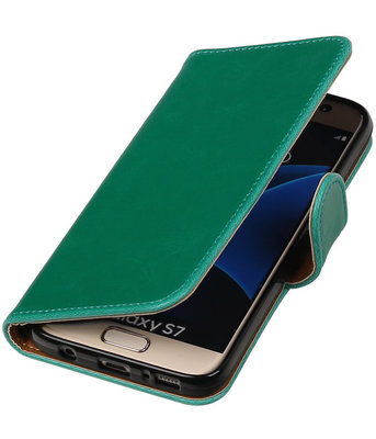 Groen Pull-Up PU booktype wallet cover hoesje voor Samsung Galaxy S7