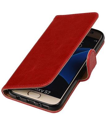 Rood Pull-Up PU booktype wallet cover voor Hoesje voor Samsung Galaxy S7