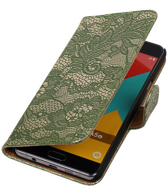 Donker Groen Lace booktype cover hoesje voor Sony Xperia X