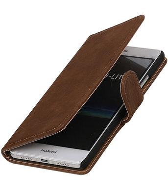 Bruin Hout booktype cover voor Hoesje voor Huawei P9 Lite
