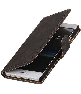 Grijs Hout booktype cover voor Hoesje voor Huawei P9 Lite