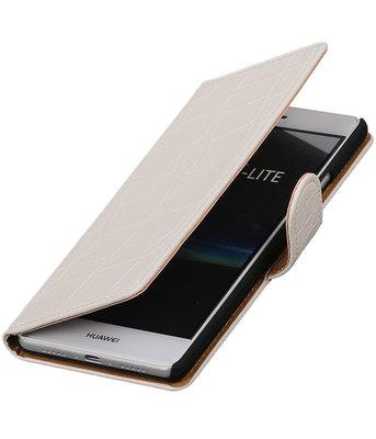 Wit Krokodil booktype cover voor Hoesje voor Huawei P9 Lite