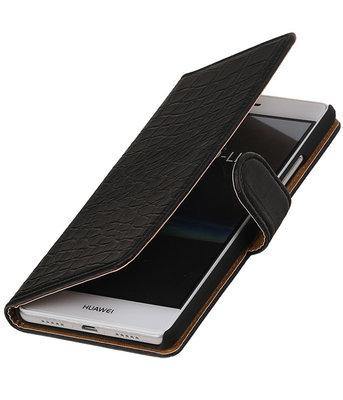 Zwart Krokodil booktype cover voor Hoesje voor Huawei P9 Lite