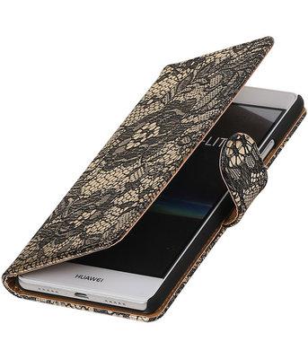 Zwart Lace booktype cover voor Hoesje voor Huawei P9 Lite