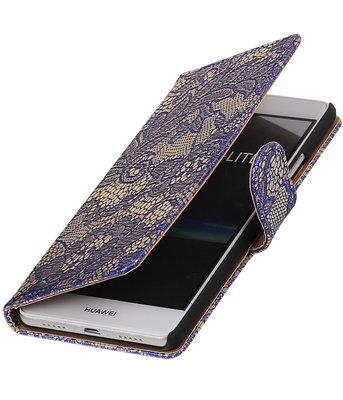 Blauw Lace booktype cover voor Hoesje voor Huawei P9 Lite