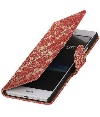 Rood Lace booktype cover voor Hoesje voor Huawei P9 Lite