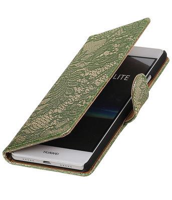 Donker Groen Lace booktype cover voor Hoesje voor Huawei P9 Lite