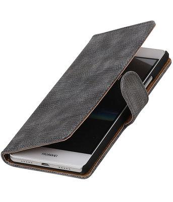 Grijs Mini Slang booktype cover voor Hoesje voor Huawei P9 Lite