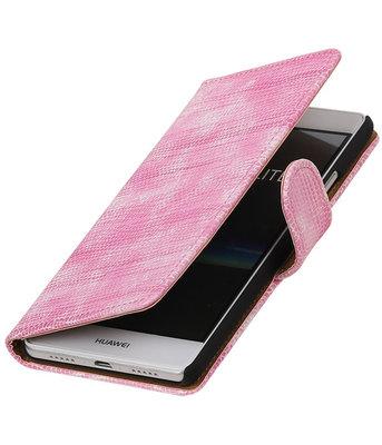 Roze Mini Slang booktype cover voor Hoesje voor Huawei P9 Lite
