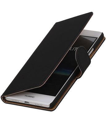 Zwart Effen booktype cover voor Hoesje voor Huawei P9 Lite