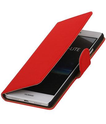 Rood Effen booktype cover voor Hoesje voor Huawei P9 Lite