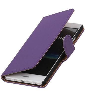 Paars Effen booktype cover voor Hoesje voor Huawei P9 Lite
