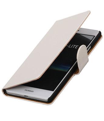 Wit Effen booktype cover voor Hoesje voor Huawei P9 Lite