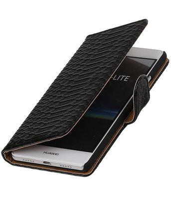 Zwart Slang booktype cover voor Hoesje voor Huawei P9 Lite