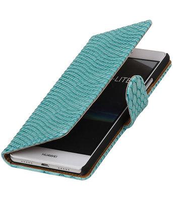 Turquoise Slang booktype cover voor Hoesje voor Huawei P9 Lite