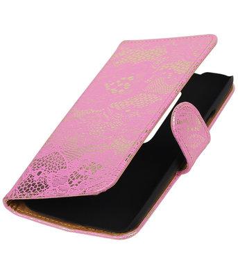 Hoesje voor Motorola Moto G (3rd gen) - Lace/Kant Roze Bookstyle