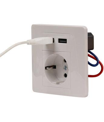 Inbouw stopcontact / wandcontactdoos met 2 USB 2.1 Ampère poorten