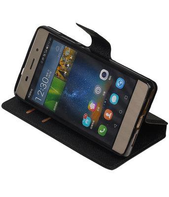 Zwart Huawei P8 Lite TPU wallet case booktype hoesje HM Book