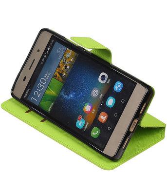 Groen Hoesje voor Huawei P8 Lite TPU wallet case booktype HM Book