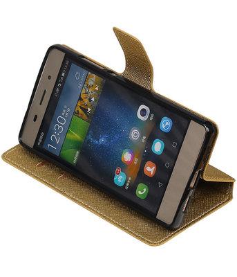 Goud Hoesje voor Huawei P8 Lite TPU wallet case booktype HM Book