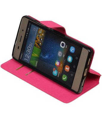 Roze Hoesje voor Huawei P8 Lite TPU wallet case booktype HM Book