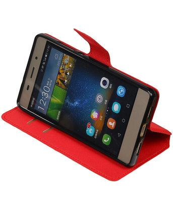 Rood Hoesje voor Huawei P8 Lite TPU wallet case booktype HM Book