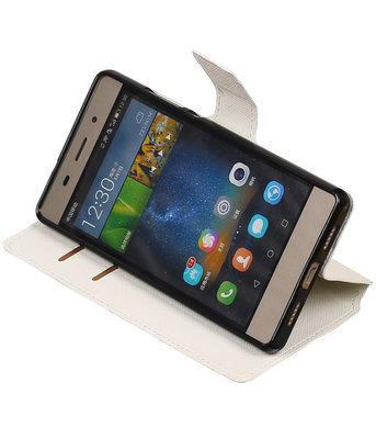 Wit Hoesje voor Huawei P8 Lite TPU wallet case booktype HM Book