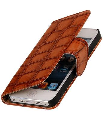 Bruin Krokodil booktype cover wallet voor Hoesje voor Apple iPhone 5 / 5s / SE