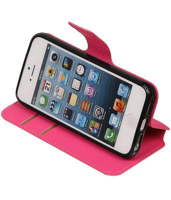 Roze Hoesje voor Apple iPhone 5 / 5s / SE TPU wallet case booktype HM Book