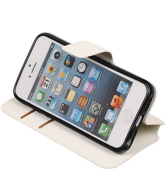 Wit Apple iPhone 5 / 5s / SE TPU wallet case booktype hoesje HM Book
