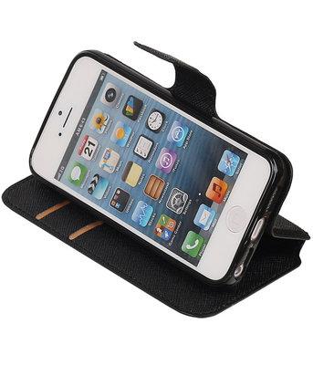 Zwart Apple iPhone 5 / 5s / SE TPU wallet case booktype hoesje HM Book